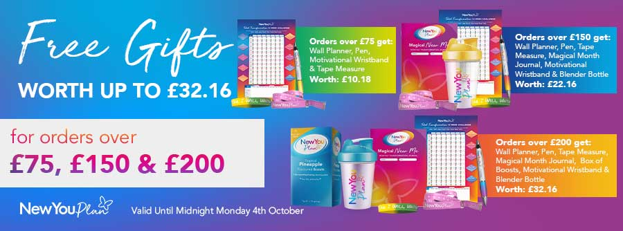 Free Gifts Orders over 75/150/200 September